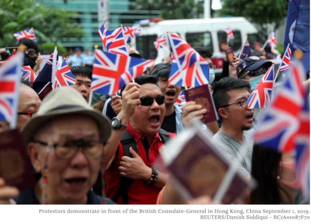 Protestors demonstrate in front of the British Consulate-General in Hong Kong, China September 1, 2019. REUTERS/Danish Siddiqui - RC1A01087F70